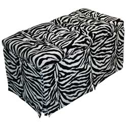 Zebra Tufted Toy Box