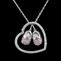 White Gold Heart Necklace With Shoes