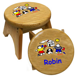 Personalized Kids Wooden Step Stool