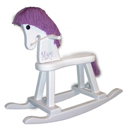 Personalized Purple and White Rocking Horse