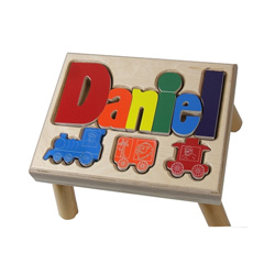 Trains Puzzle Name Stool