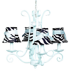 4 Arm Harp Zebra Chandelier