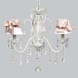 Pink Sash 3 Arm Jewel Chandelier