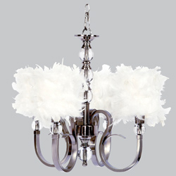 Feathered 4 Arm Hampton Chandelier