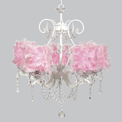 Pink Feather 5 Arm Grace Chandelier