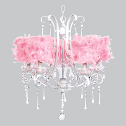 Feathered 5 Arm Colleen Chandelier