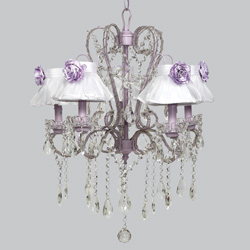 Lavender Rose 5 Arm Whimsical Chandelier