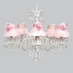 Pink Rose 5 Arm Wistful Chandelier