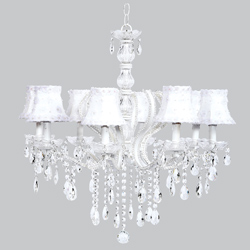 White Petal Flower 8 Arm Pageant Chandelier