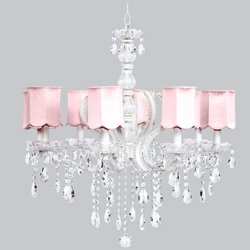 Pink Scallop 8 Arm Pageant Chandelier