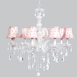 Pink Pearl Dot 8 Arm Pageant Chandelier