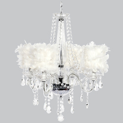 White Feather 4 Arm Middleton Chandelier