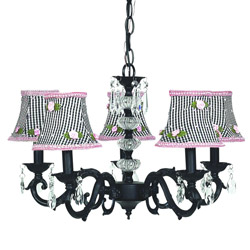 Pink Rosebud Glass Turret Chandelier
