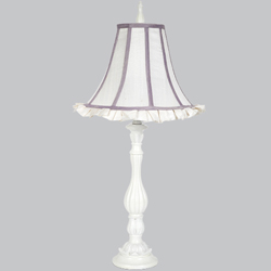 White & Lavender Trimmed Lotus Lamp