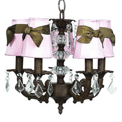 Mocha 5 Arm Glass Ball Chandelier