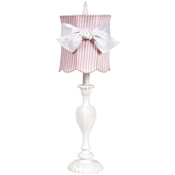 Pink 'n White Scallop Drum Lamp