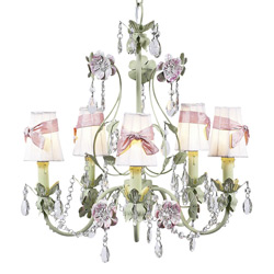 Pink Bow Flower Garden Chandelier