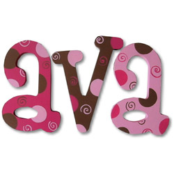 Choco Berry Dots and Swirls Wall Letter