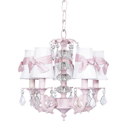 Pink 5 Arm Stacked Glass Balls Chandelier