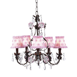 Pink and Mocha 5 Arm Flower Garden Chandelier