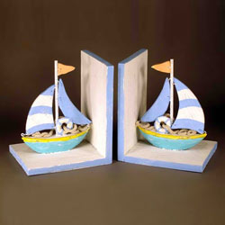 Beach Colored Sailboat Bookends
