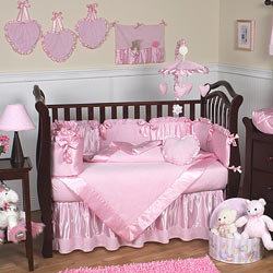 Pink Chenille Crib Bedding Set