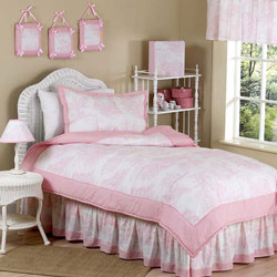 Pink Toile Twin Bedding Set