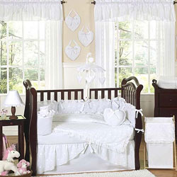 White Eyelet Crib Bedding Set