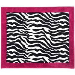 3x5 Area Rug Fun pink and black zebra print rug. Great for a kids room or to add a splash of color to any room! Actual sizes may vary slightly due to the process of producing the rugs.