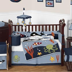 Ocean Blue Crib Bedding Collection