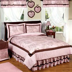 Pink & Brown Toile Twin Bedding