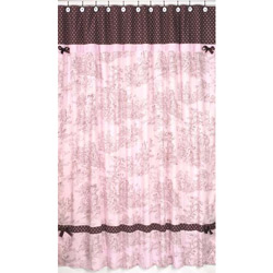 Pink & Brown Toile Shower Curtain