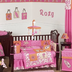 Surf Pink Crib Bedding