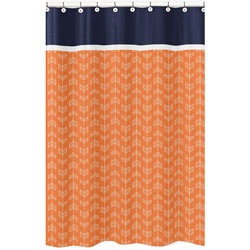 Arrow Orange and Navy Shower Curtain
