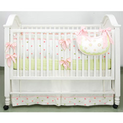 Pink And Green Polka Dot Crib Bedding