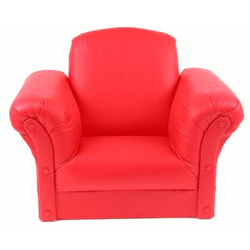 Red Faux Leather Kids Chair