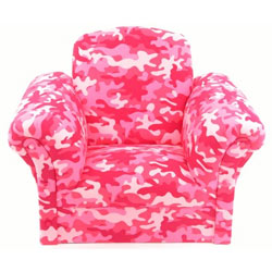 Pink Camouflage Upholstered Kids Chair