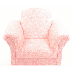 Pink Scroll Upholstered Kids Chair