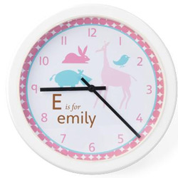 Personalized Girls Animal Clock