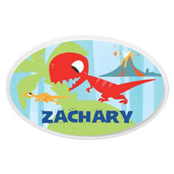 Personalized Blue Dino Oval Plaque