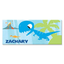 Personalized Blue Rectangle Dinosaur Canvas Art