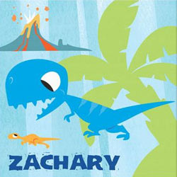 Personalized Blue Dinosaur Canvas Art