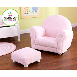 Child's Chenille Rocker with Ottoman