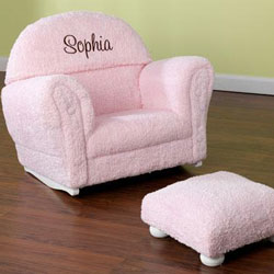 Personalized Child's Chenille Rocker and Ottoman