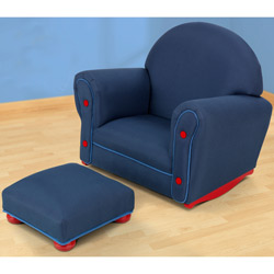 Kid's Denim Rocker and Ottoman