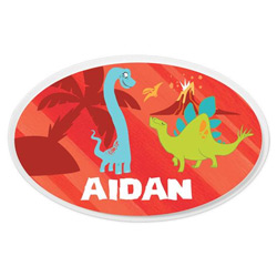 Personalized Red Dino Oval Plaque
