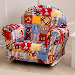 Firefighter Patchwork Upholstered Rocker