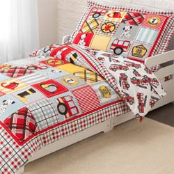 Fire Truck Toddler Bedding