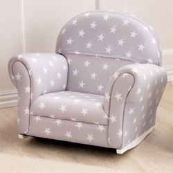 Gray with White Stars Upholstered Rocker