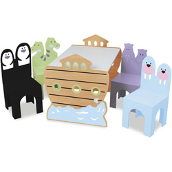 Noah's Ark Table and 4 Chairs Set